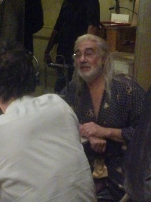 "Placido Domingo being interviewed before the show begins: Opening night of ""I Due Foscari"" at LA Opera (photo by CK Dexter Haven)"