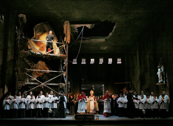 Lado Ataneli (Scarpia) on platform, with ensemble (finale of Act 1)