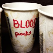 Tosca BTS - Blood packs in disposable coffee cups (photo by Brian Lauritzen)