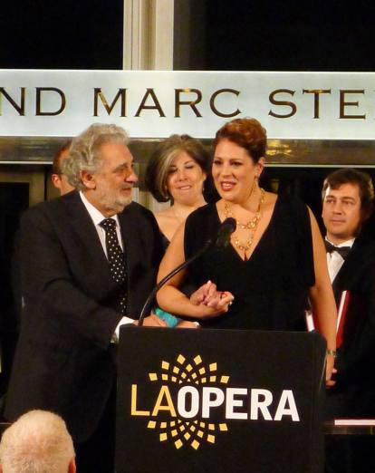Tosca BTS - Placido Domingo and Sondra Radvanovsky at cast party for Tosca