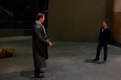 Brandon Jovanovich (Don Jose) and Ildebrando D'Arcangelo (Escamillo) discuss their Act 3 knife fight
