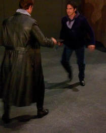 Brandon Jovanovich (Don Jose) and Ildebrando D'Arcangelo (Escamillo) practice their Act 3 knife fight