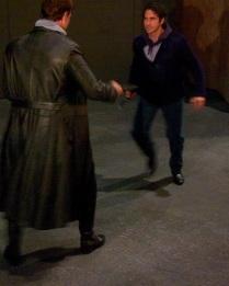 Brandon Jovanovich (Don Jose) and Ildebrando D'Arcangelo (Escamillo) practice their Act 3 knife fight