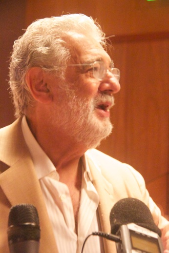 Plácido Domingo during interviews