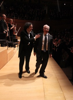 Gustavo Dudamel & Frank Gehry walking off stage:  Los Angeles Philharmonic's Walt Disney Concert Hall 10th Anniversary Celebration - Backstage & Gala