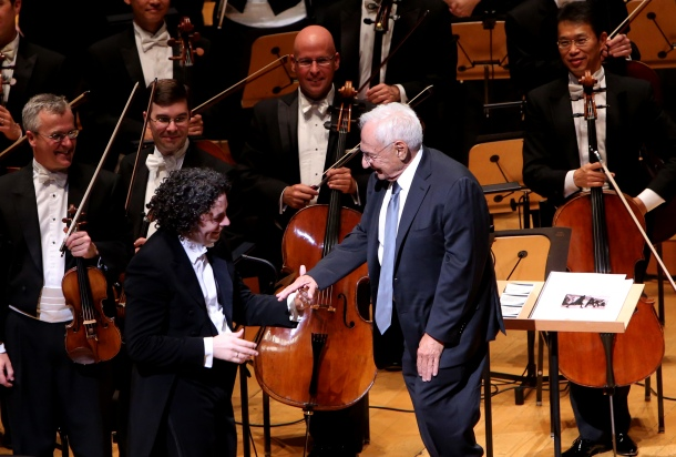 Gustavo Dudamel and Frank Gehry at the Los Angeles Philharmonic's 10th Anniversary Celebration at Walt Disney Concert Hall on September 30, 2013 in Los Angeles, California.