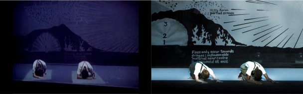 """Comparing the end of the """"Spaceship"""" scene:  left, Lucinda Childs and Sheryl Sutton (1984); right, Kate Moran and Helga Davis (2012-2013)"""