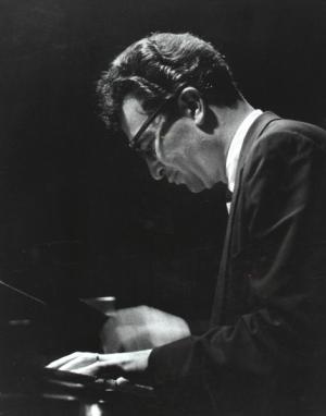 Dave Brubeck at the piano (1957) (courtesy of davebrubeck.com)