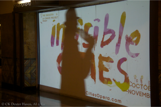 Invisible Cities projection with shadow