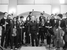 James Conlon posing with SMHS Chamber Orchestra 2