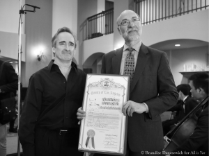 James Conlon with LA County proclamation (B&W)