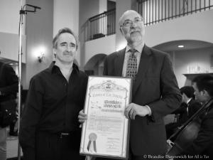 James Conlon with LA County proclamation (B&W)