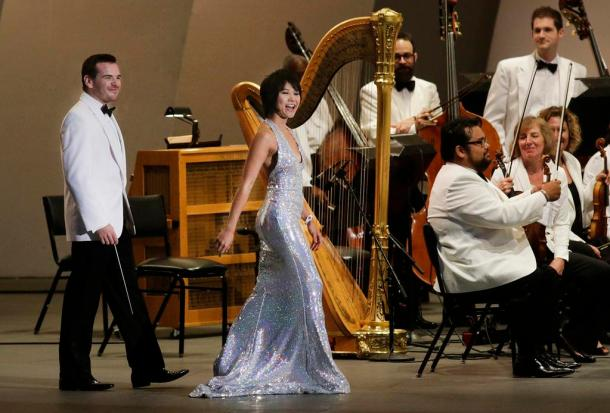 Lionel Bringuier and Yuja Wang (photo by Lawrence K. Ho)